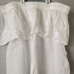 Embroidered off shoulder top